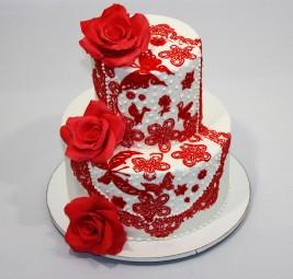 """Торт """"Свадьба в красном"""""""