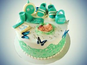 Торт на годик и крещение ребенка