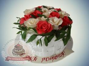 """Чижо Торт """"Корзина с розами в день рождения"""""""